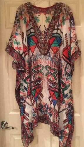 Vintage 90s Caftan Cover Up Women/'s Swimsuit Cover-Up Teddy Romper Torquoise Cover Up Belted Baby Doll
