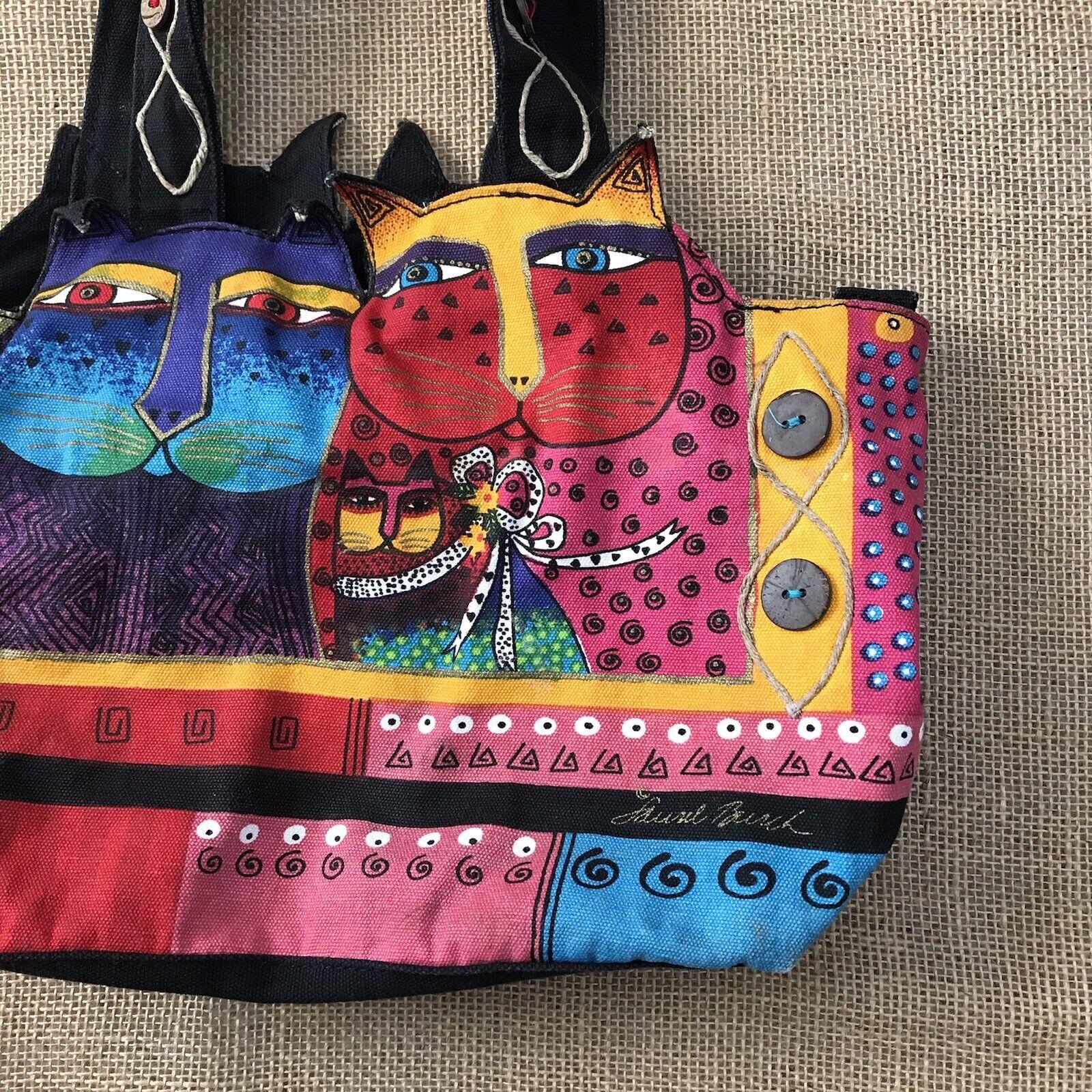 Laurel Burch Feline Cat Hand Bag Shoulder Bag Zip… - image 2