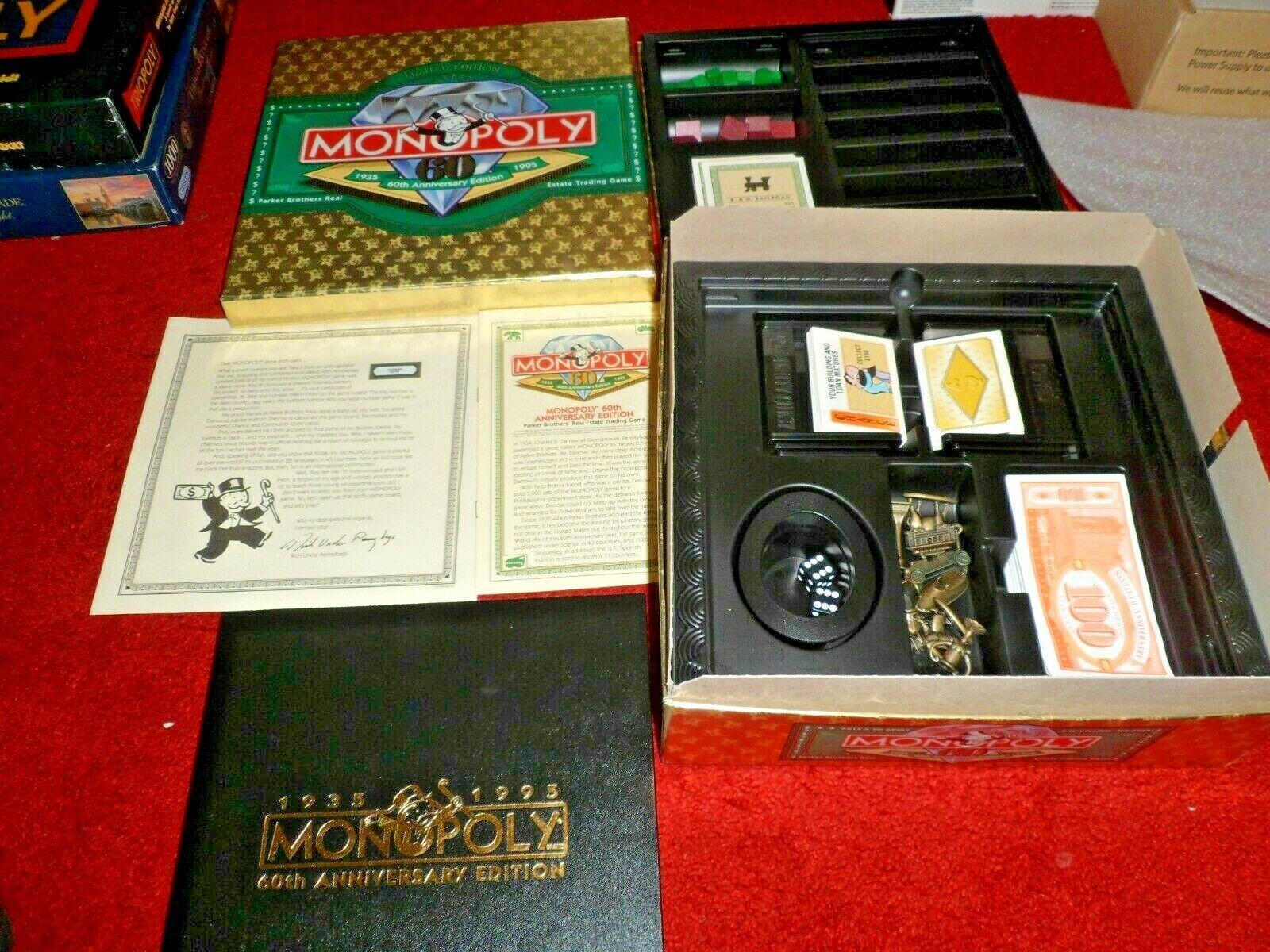 Monopoly 60th Anniversary Limited Edition Gold Box Board Board Board Game No. 40001 1995 672e19
