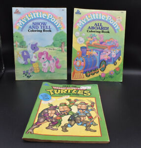 Lot Of 3 Vintage Coloring Books - TMNT And My little ponies - Random House