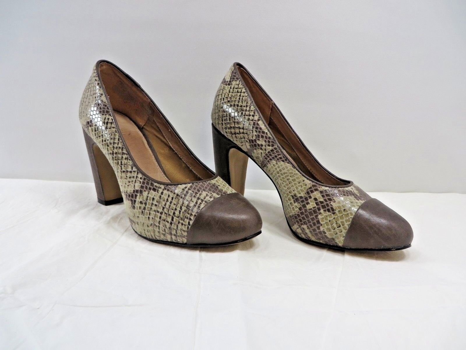 Fossil Woman's Monica High Heel Cap Toe shoes Brown Snake Embossed Sz 5.5 NWD