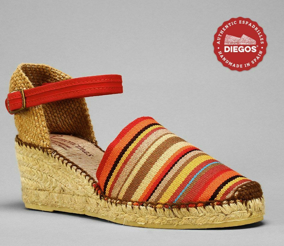 Diegos® Authentic rot stripes Carmen high wedge espadrilles hand made made made in Spain b52800