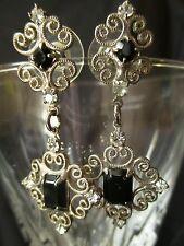 Vintage #Earrings Black Onyx  Victorian Crystal filigree Sterling Silver Pierced