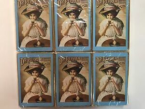 6- Vintage SEALED DECKS OF DR. PEPPER Lady with Glass PLAYING CARDS (6 decks)