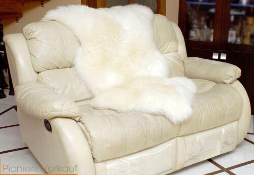 öko Lammfell Naturfell Deko Teppich Sitzfell  sheepskin naturweiß 110-130 cm