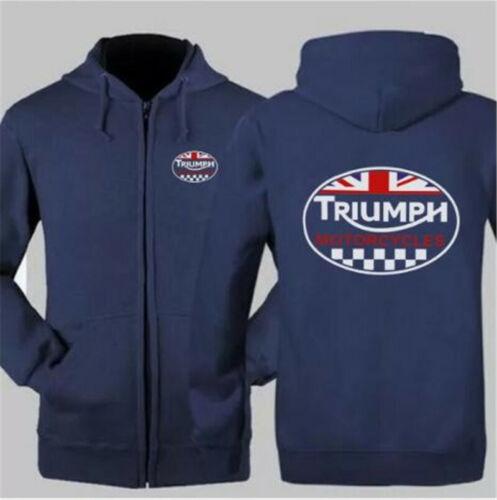 TRIUMPH MOTORCYCLE MENS Hoodie Jacket Sweater Winter Warm Coat