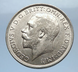1916-United-Kingdom-Great-Britain-GEORGE-V-Silver-Florin-2-Shillings-Coin-i69406