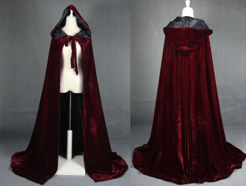 2018 Wine Black Velvet Hooded Cloak Long Wedding Cape Halloween Plus Size S-6XL