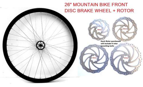 "26/"" MOUNTAIN BIKE DISC BRAKE COMPATIBLE FRONT WHEEL DEEP DOUBLE WALL RIM,"
