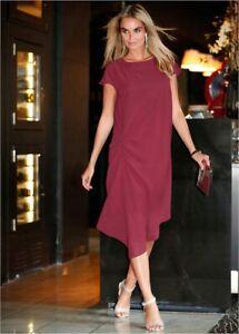 Details about Bonprix Chiffon Magenta Tunic Dress With Asymmetric Hem Size 16 [ref 13]