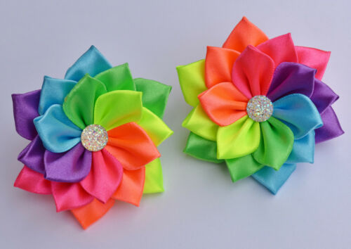 Kanzashi Pair of Handmade RAINBOW Satin Flower Hair Bobbles//Bows//Clips