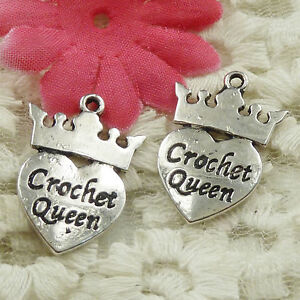 #4619 Free Ship 46 pcs Antique silver crown heart Crochet Queen charms 26x18mm