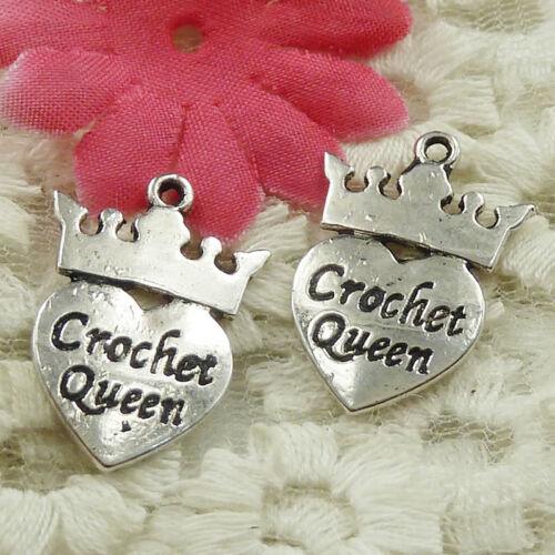 #4619 Free Ship 138 pcs Antique silver crown heart Crochet Queen charms 26x18mm