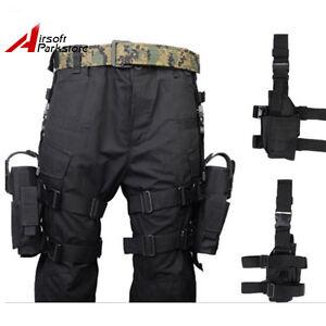 Tactical-Airsoft-Jagdpistole-Drop-Leg-Holster-fuer-Rechts-Links-Hand-Schwarz