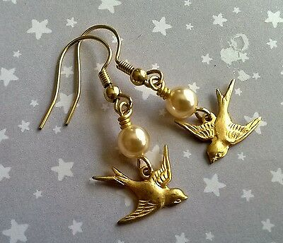 Vintage Style Swallow Bird & Faux Glass Pearl Drop Earrings - Wedding Gold Brass
