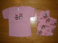 Girl's 2pc Pink Hooters T-shirt/pants I Heart The Night Life Pajamas S,m,l