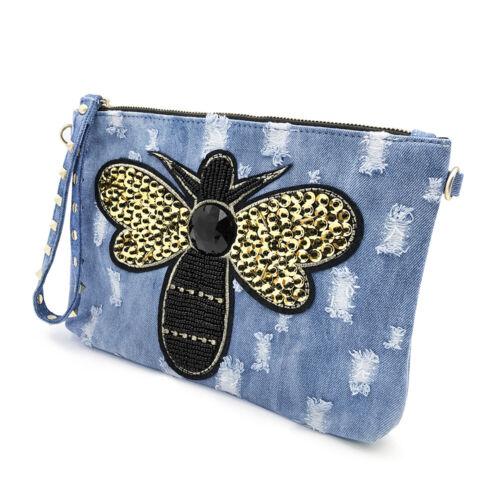 Details about  /Jeans Studded Bags Women Purse Women/'s Messenger Shoulder Bags Denim Blue