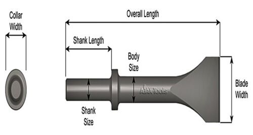 """Ajax 423-4-1//2 Pneumatic Scaling Chisel 4-1//2/"""" Wide 10/"""" OAL USA .680/""""round//round"""