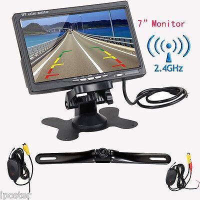 """7"""" TFT LCD Car Rear View Backup Monitor+Wireless Reverse Night Vision Camera Kit"""