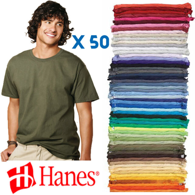 best sell in stock attractive colour Hanes 5250 TAGLESS 50 T-Shirts 6.oz Plain Blank Color S-XL Lot Wholesale  Bulk
