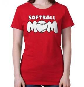 Softball Mom Proud Mother Womens T Shirt Dad Sports Cool Baseball
