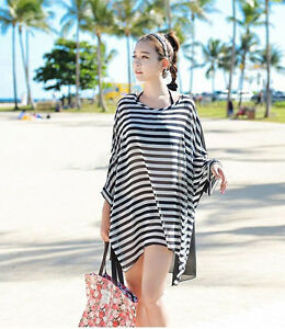 New Beach Wear Women Swimwear Bathing Suit Stripe Cover Up Summer