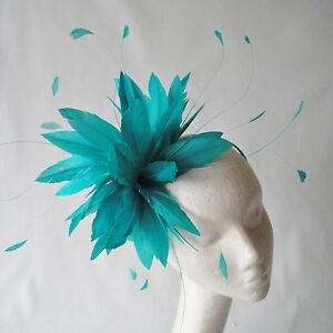 Image is loading Jade-Green-Feather-Fascinator-for-Weddings-Races-and- e58556516b5