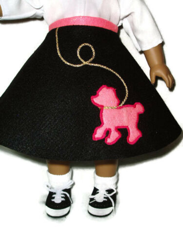 """4pc Poodle Skirt Outfit Fits American Girl Dolls 18/"""" Doll Clothes Black Hot Pink"""
