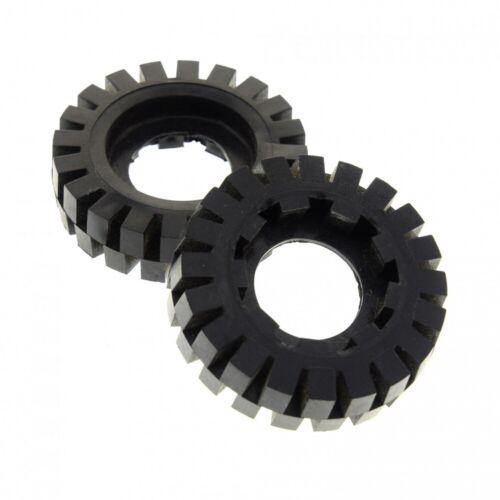 2x Lego Technic Rad Reifen schwarz 17x43 9Z Zahnrad g9 394 393 392 814 3634b