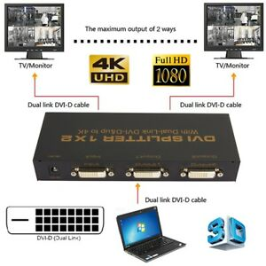 DVI-D-1-X-2-Port-Splitter-LCD-LED-Monitor-Box-Support-Resolution-up-to-4K-1080P