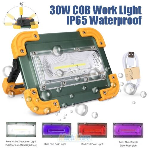 Super Bright 80,000LM COB LED Work Light Rechargeable Emergency Flood Lamp 30W