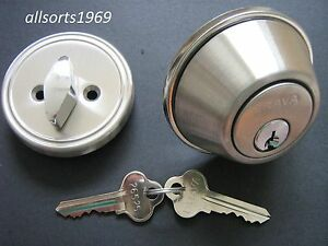 Image is loading Locksmiths-Door-Lock-Deadlock-Single-Cylinder-Deadbolt -Satin- & Locksmiths Door Lock Deadlock Single Cylinder Deadbolt Satin Chrome ...