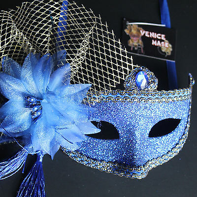 Royal Blue Venetian Floral Glitter Masquerade Mask Party Prom Mardi Gras