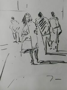 JOSE TRUJILLO - MODERN Contemporary ORIGINAL CHARCOAL DRAWING - People Walking