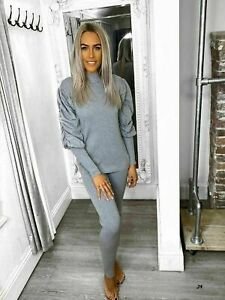 Womens-Ladies-Rib-High-Neck-Ruched-Sleeve-Top-Bottom-Lounge-Wear-Tracksuit-Set