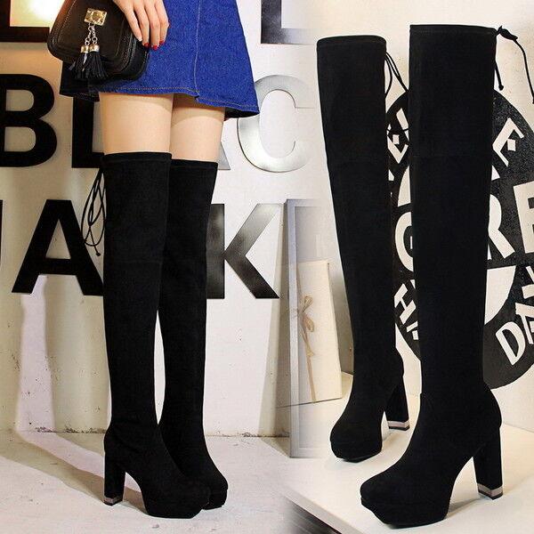 Bottes Cuisse Genou noir Femme Talon 10 cm Élégant Cuir Synthetique 9642