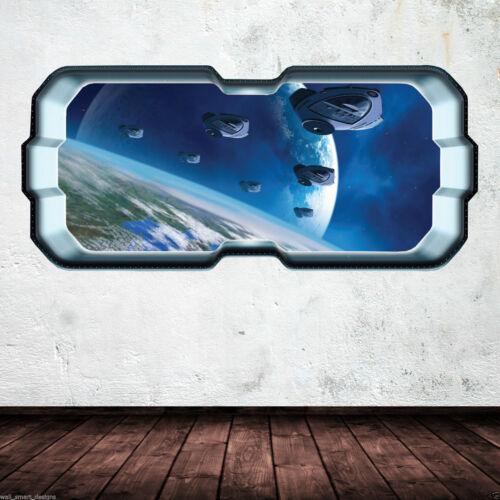 Rakete Shuttle Fenster Planet volle Farbe Wandkunst STICKER Abziehbild wsd283