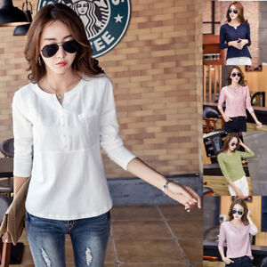 b7b1533a07d3 Womens Ladies Casual Long Sleeve Tops Shirt V Neck Cotton Tshirt ...