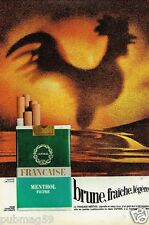 Publicité advertising 1972 Cigarettes Francaise Menthol Filtre