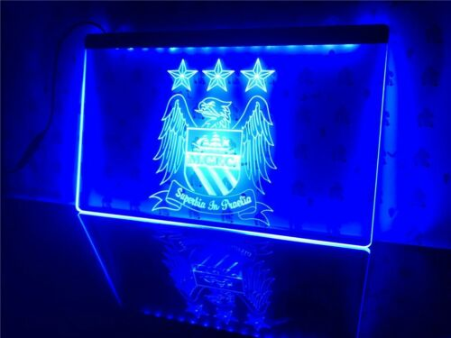 LED Neon Light Sign Modern Rectangle Acrylic Manchester City Football Club