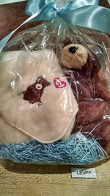 2 lot VALENTINE monkey Ty BEANIE BABY /& WASHCLOTH with Valentine Ty embroidery