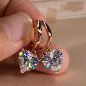 Fashion-CZ-Heart-Zircon-Dangle-Earrings-Crystal-Drop-Hoop-Women-Jewelry-Gifts