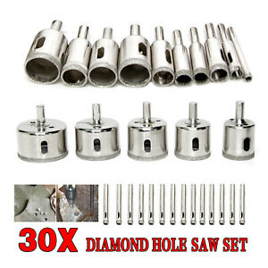 30pcs Diamond Cutter Coated Core Hole Saw Set Holes Saw Drill Bit Tile FOR Glass