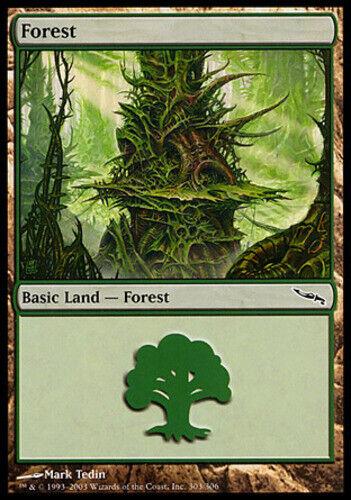 - Foil-Mirrodin English-Forest 303 MTG-1x-Light Play