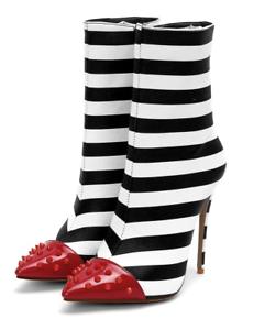 Women/'s Black White Stripe High Heels Ankle Boots Point Toe Stilettos Chic Shoes