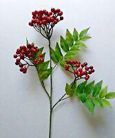 24 Christmas Red Fruit Berry Stem. Silk Flower Arrangements. Floral