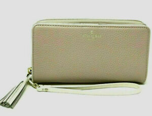 NWT-Kate-Spade-Brigitta-Chester-St-Beige-Leather-wallet-wristlet-WLRU3046-199