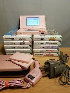Nintendo DS Lite Coral Pink Mega Bundle 10 Games Case Charger & many extras