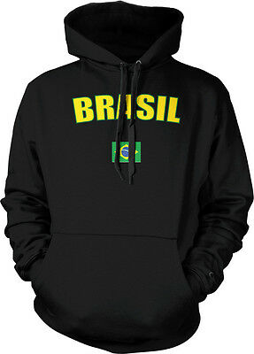 Brasil Brazil Faded Distressed Flag Brazilian Country Pride Hoodie Pullover