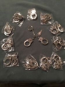 Keyring Key Chain Mini Handcuffs W/ Keys LOT OF 12.